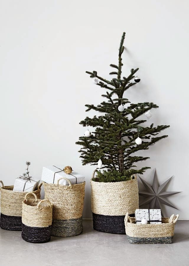 Mini-tree and beautifully woven baskets.
