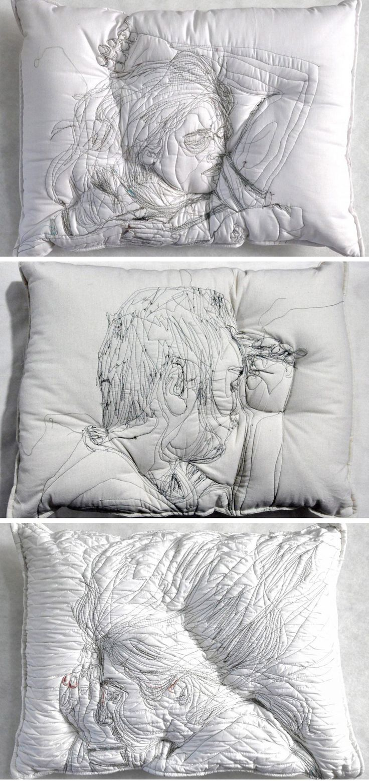 Sleeping People Embroidered Onto Handmade Pillows by Maryam Ashkanian