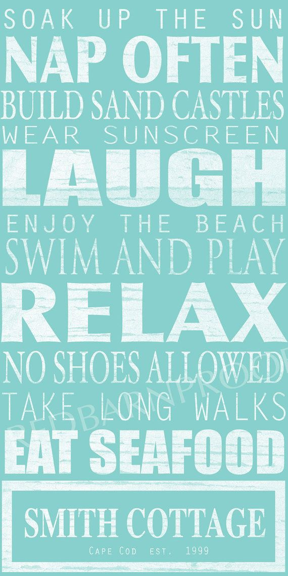 I just adore this from Etsy shoppe RedBarnCanvas -BEACH Sign, Cottage Rules Canvas