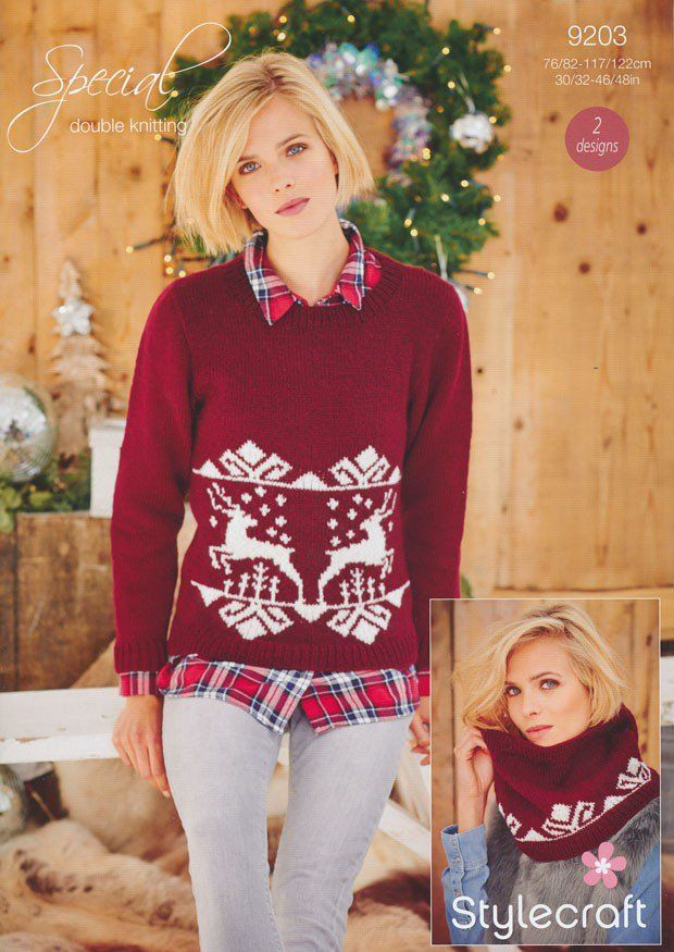 Ladies Christmas Jumper and Snood in Stylecraft Special DK (9203)