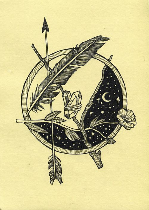 feather, arrow, crystal, moon, and flower...wow