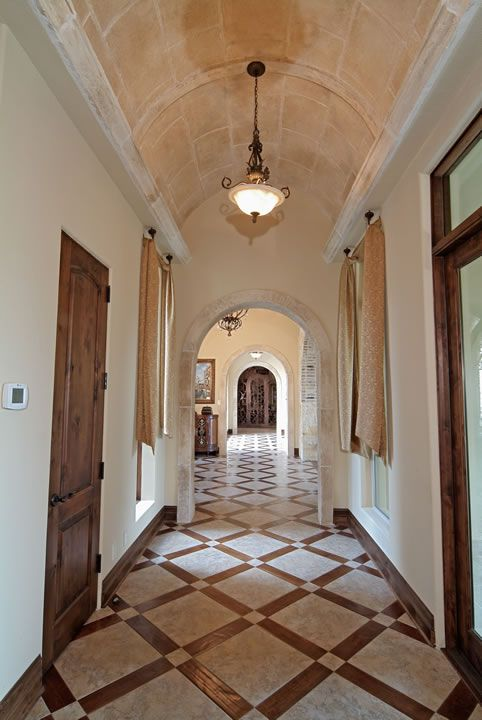 patterned tile floor barrel ceiling with faux finish - Tile Floor Design Ideas