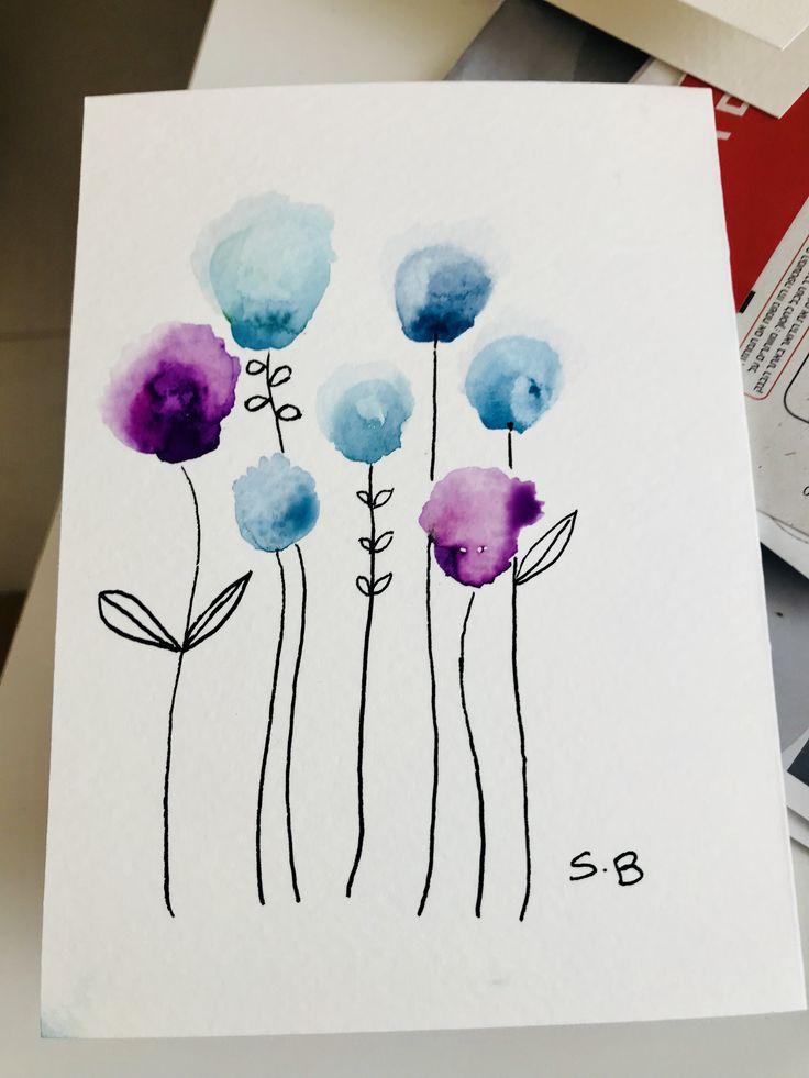 Открытки акварельными красками