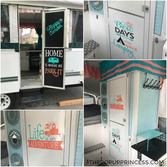 Chalkboard vinyl and cute camping themed decals   on the doors give your camper a fun feel.