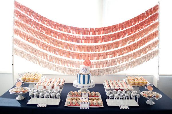love this backdrop for a dessert table. probably for engagement party or shower