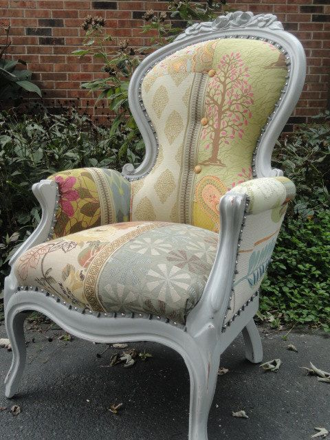 patchwork, colorful, rose backed grey painted distressed designer Victorian chair on Etsy, $949.00