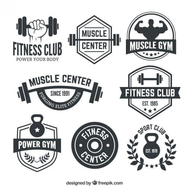 Emblemas Fitness center Vetor Premium