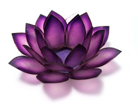 Beautiful Purple Capiz Shell Lotus Candle Holder