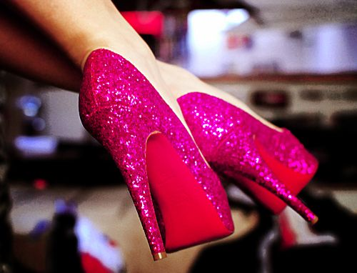 sparkle: Red Bottoms, Pink Sparkle, Sparkly Shoes, Glitter High Heels, Glitter Shoes, Pink Heels, Hot Pink, Pink Shoes, Glitter Heels