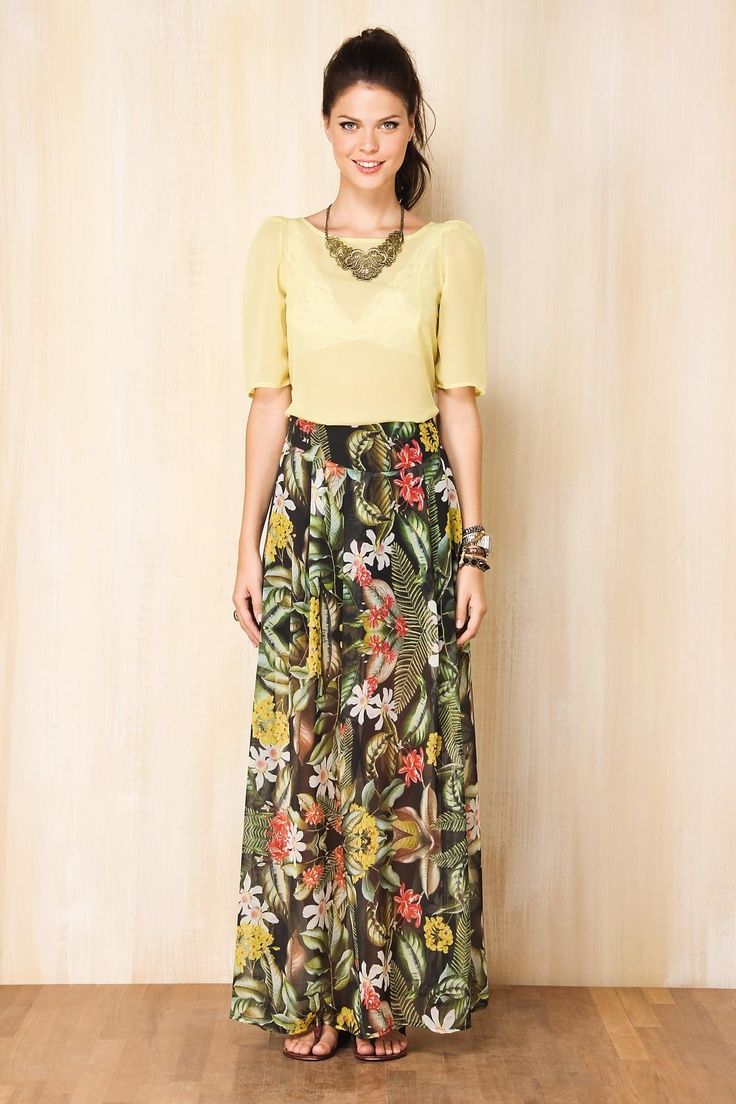long skirt and statement necklace I'm not a jewelry fan but this looks nice.
