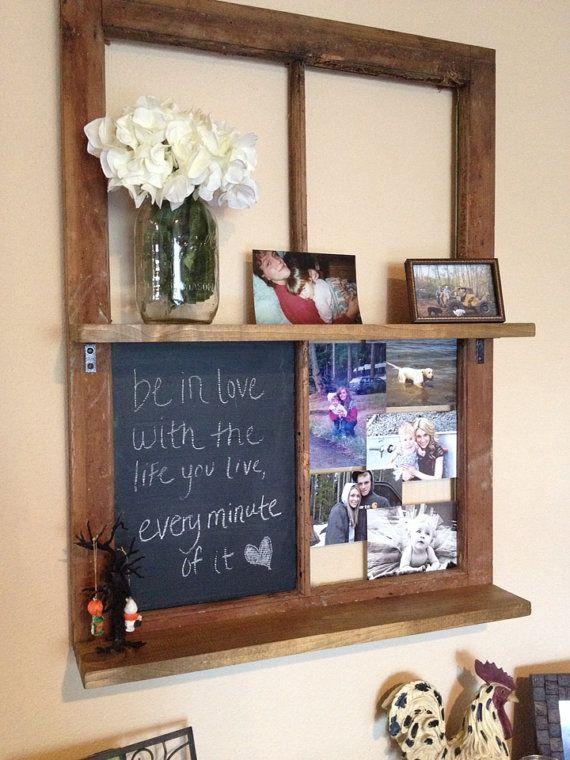 Reclaimed window chalkboard shelf by TKLdecor on Etsy