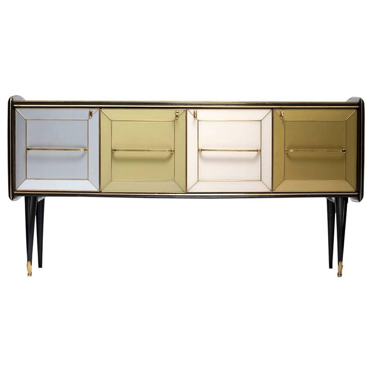 1960s Mid-Century Italian Glass Sideboard Credenza | From a unique collection of antique and modern credenzas at https://www.1stdibs.com/furniture/storage-case-pieces/credenzas/