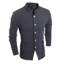 Gratis verzending hoge kwaliteit katoen grijs zwart enkele breasted mannelijke vintage jassen tuniek pocket kleding(China (Mainland))