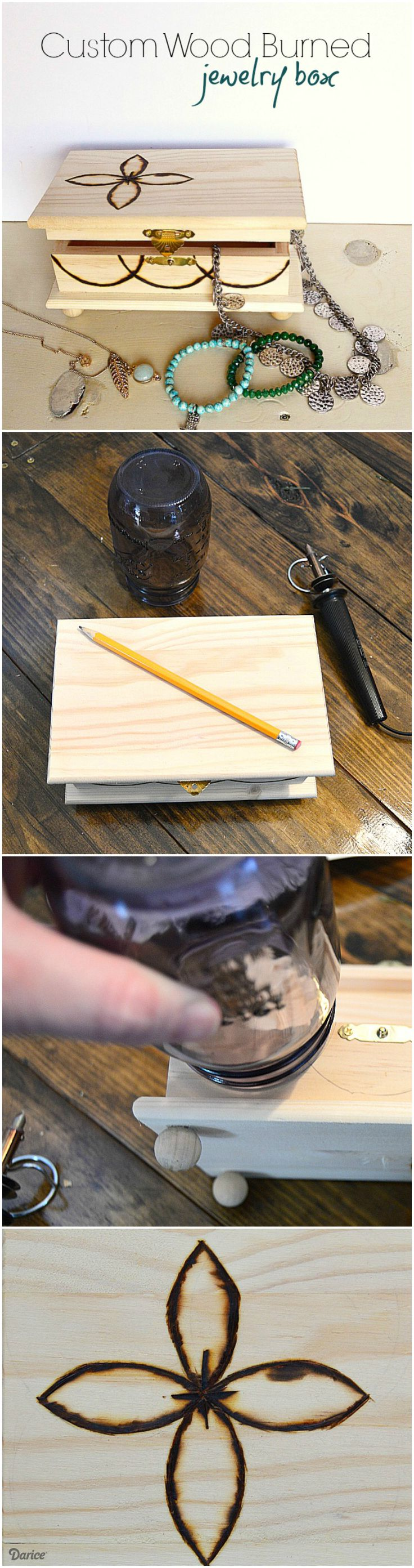 It is easy to learn how to wood burn with this beginner's tutorial for a custom jewelry box. Have fun creating an original design to showcase on the piece.