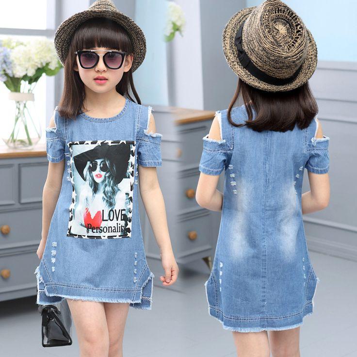 Children Dresses For Girls Denim Dress Summer Strapless Dress Pattern Girls Clothing Short Sleeve Child Clothes Denim T-Shirts