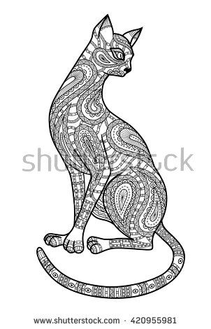 Decorative outline of cat. Ornate silhouette as template of adult coloring book, T-shirt print, batik, tattoo. Vector illustration