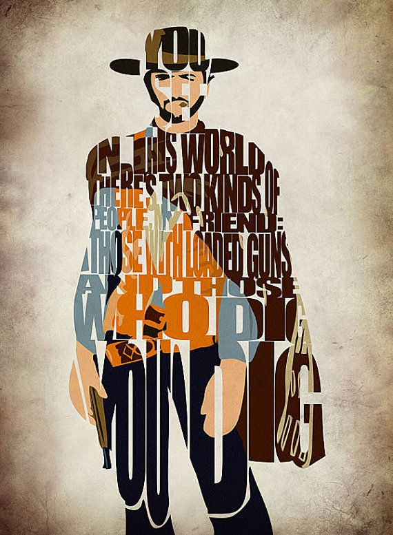 Blondie The Good The Bad and The Ugly Print - Minimalist Illustration Typography Art Print & Poster