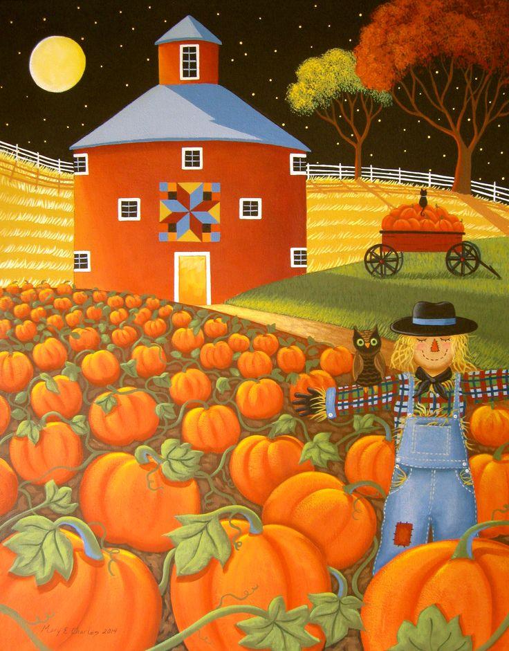 """Pumpkin Harvest"" Folk Art Painting by Mary Charles http://www.starlitestudios.blogspot.com"