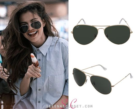 May 18, 2016- Selena Gomez went grocery shopping in Saskatoon last week and wore Ray Ban Aviator Classic Sunglasses in color Green Classic (G-15). They're $112.50 on zappos.com Buy them HERE She wore...