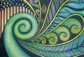Painting inspired by the Koru plant and artist Raewyn Harris