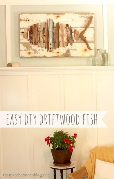 collect any driftwood on your beach vacations?  use it to make an easy craft like this fish or any shape of your choice.  this link is to the tutorial and it is so easy a great summer project for older kids too!!