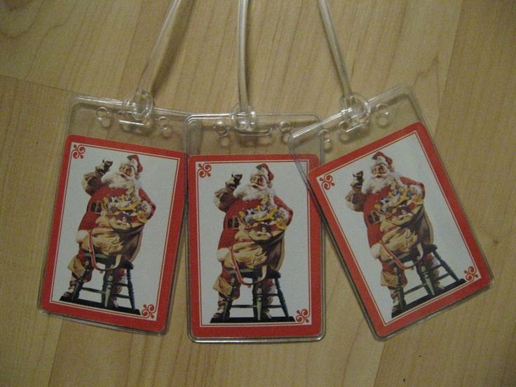 Coca Cola Luggage Tags - Coke Santa Claus Vintage Playing Card Name Tag Set (3) #CocaCola