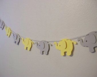 Yellow And Grey Elephant Garland   Cardstock Paper   Baby Shower Decoration    Wall Decoration