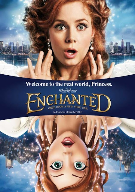 Enchanted (2007) When evil Queen Narissa exiles Princess Giselle from the cartoon kingdom of Andalasia to the real world of New York City, a native Prince Charming -- who spends his days as a divorce lawyer -- reluctantly takes her in.  Amy Adams, Susan Sarandon, James Marsden...TS fantasy