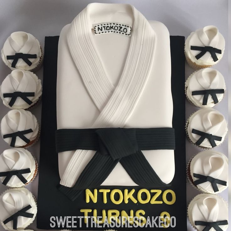 #Ntokozo turns #9. Made this #marshall #arts #cake and #cupcakes for Ntokozo who turned 9. Inside is #carrotcake with #cheesecake #filling. #sweettreasures #sweettreasurescakeco #joburg #johannesburg #southafrica #karate #black #white