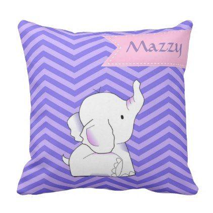 Baby Elephant with Purple Chevron Monogram Throw Pillow - monogram gifts unique custom diy personalize