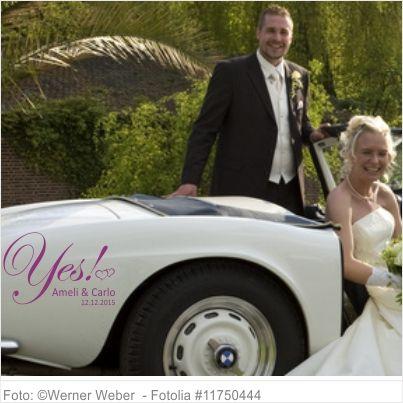 Autoaufkleber Hochzeit Yes mit Vornamen und Datum 06