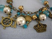 Náramok Pirátsky poklad Náramok so staromosadznými príveskami a tyrkysovými swarowskeho kryštálikmi a perlami
