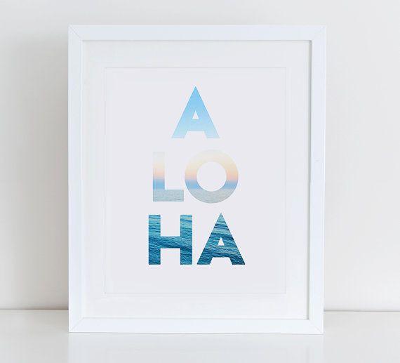 Aloha imprimer, Aloha imprimable, Art de la typographie, impression d