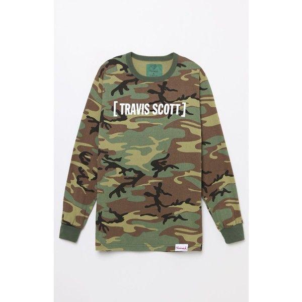 Diamond Supply Co x Travis Scott Camo Flame Head Long Sleeve T-Shirt ❤ liked on Polyvore featuring tops, t-shirts, brown t shirt, long sleeve t shirts, graphic tees, long sleeve graphic t shirts and graphic t shirts