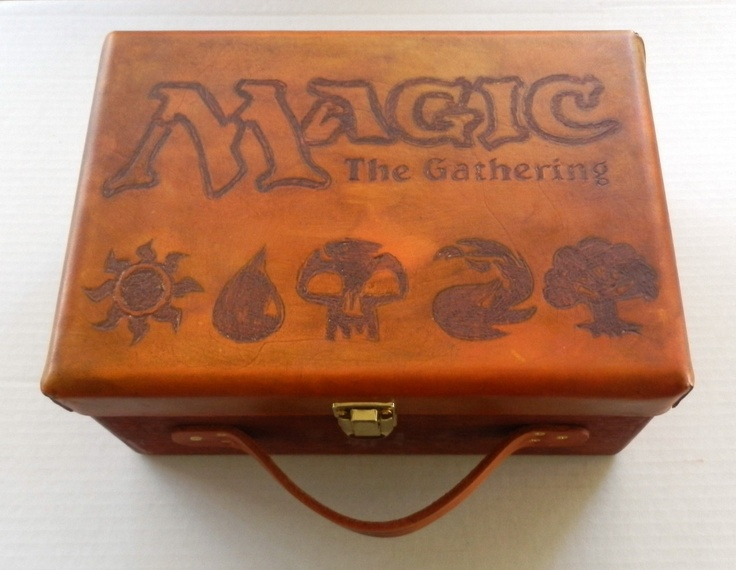 Customized Wood Deck Carrying Case Holds 9 Standard Decks MtG Magic The Gathering handmade $79.99