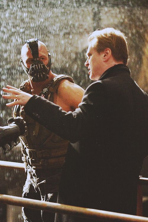 Christopher Nolan directing Tom Hardy in a scene from The Dark Knight Rises (2012)