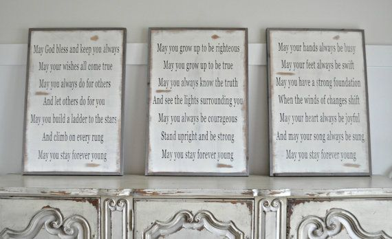 These signs are each 3X2 framed, and they are to be purchased together. These are the song lyrics to one of Bob Dylans songs, Forever Young.