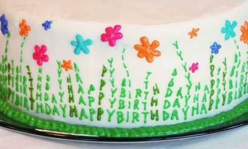 Spring Celebrations Cake..Happy Birthday is written as the ...