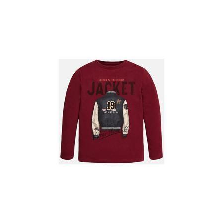 Mayoral Футболка с длинным рукавом  для мальчика Mayoral  — 1649р.  Хлопковая футболка с длинными рукавами - это  базовая вещь в любом гардеробе. Благодаря длинным рукавам и легкому составу ткани, ее можно носить в любое время года, а яркий орнамент, подчеркнет индивидуальный стиль Вашего ребенка!  Дополнительная информация:  - Крой: прямой крой. - Страна бренда: Испания. - Состав: хлопок 100%. - Цвет: вишневый. - Уход: бережная стирка при 30 градусах.  Купить футболку с длинным рукавом для…