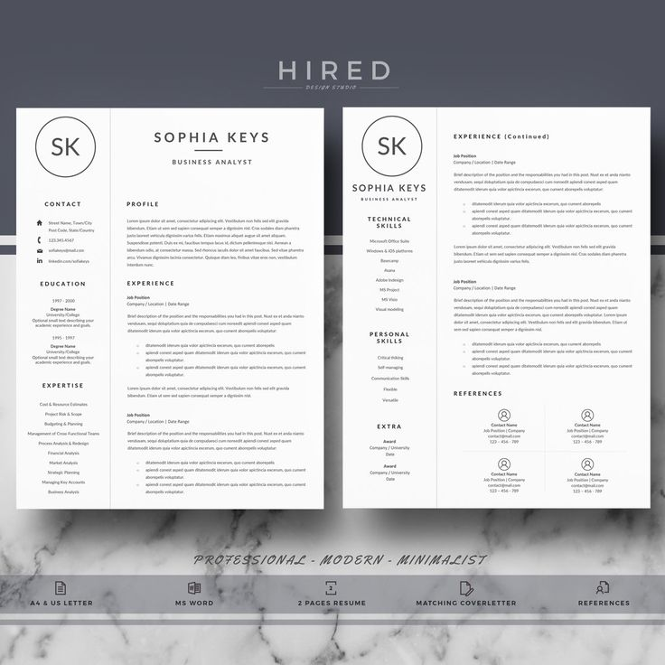 Professional Resume Template | Modern Resume For Word | CV Template + Cover  Letter U0026 References + Resume Writing Guide | Instant Download
