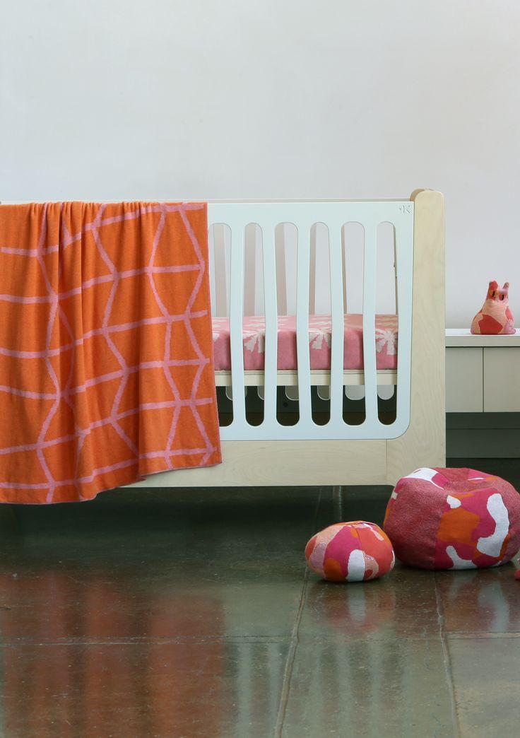 papaya & melon ~ stix knitted baby blanket