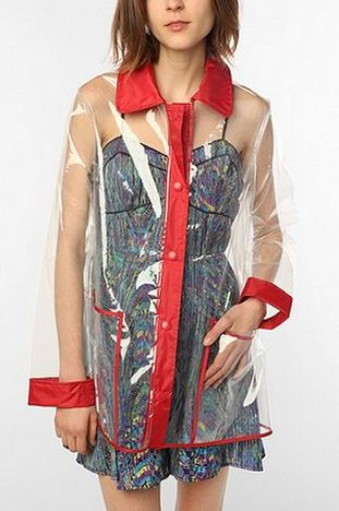 Clear plastic raincoat / URBAN OUTFITTERS / $49.99  i this this is cool cuz you go through effort to look good then just have to cover it up with a coat is a bummer so here is a clear coat!!! iv thought of this i didn't know it was real!!