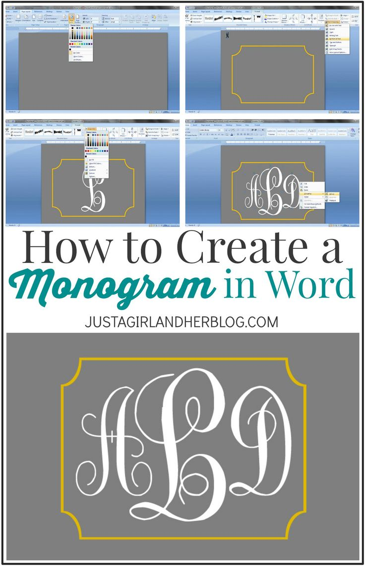 How to Create a Monogram in Word | JustAGirlAndHerBlog.com
