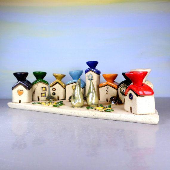 Menorah Ceramic Menorah Hanukkah menorah Hanukkah gift