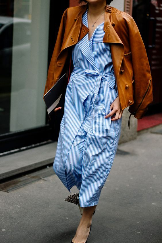 Striped Dress with Brown Leather   Street Style #StreetStyle