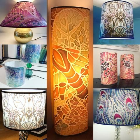 just some of the bespoke lampshades I've made for my customers all designs that match other pieces they have purchased from me.