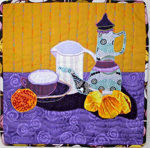 """Coffee with Vincent"", a tribute to Vincent Van Gogh's still life, ""Blue Enamel Coffeepot, Earthenware and Fruit"".  Posted by Orange Crumpled Napkin.:"
