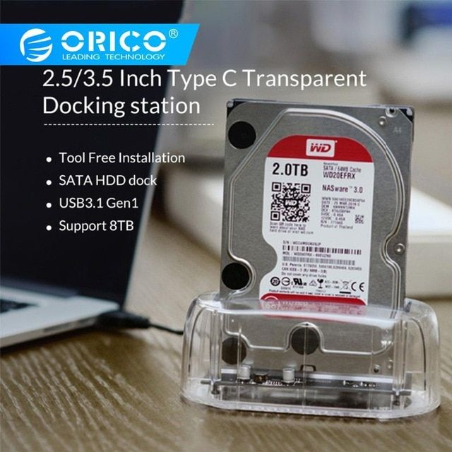 Orico 2 5 3 5 Inch Type C Hdd Docking Station Transparent Hdd Case External Hard Drive Case Sata To Usb 3 1 Storage Dock S Docking Station External Storage Hdd