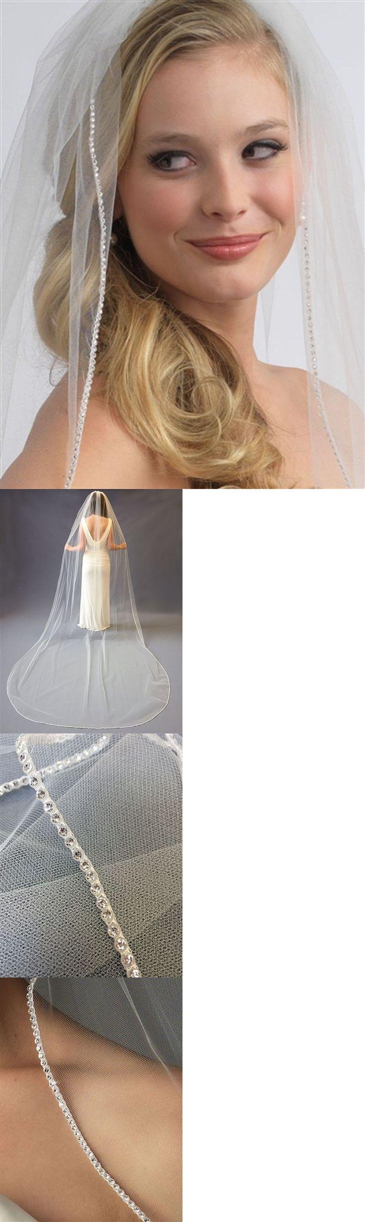 Bridal Accessories: 1-Layer, Swarovski Large Rhinestone Edge Wedding Veil Ivory 108 L -> BUY IT NOW ONLY: $49.99 on eBay!