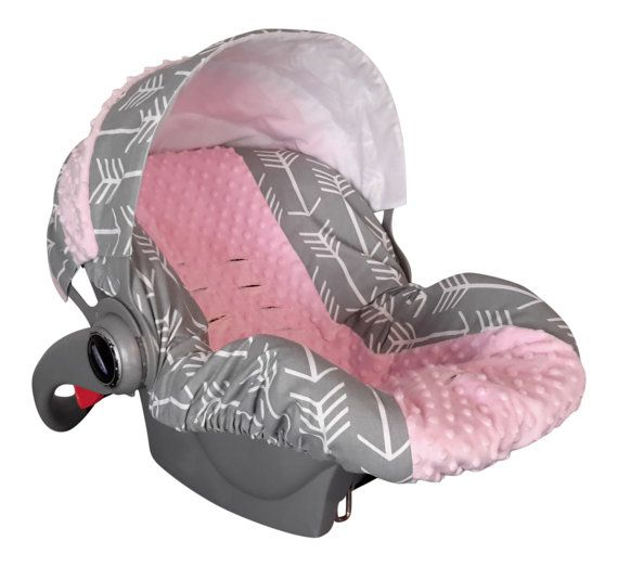 Baby Car Sear Cover Infant Seat Slip Custom Grey Arrow Light Pink Minky